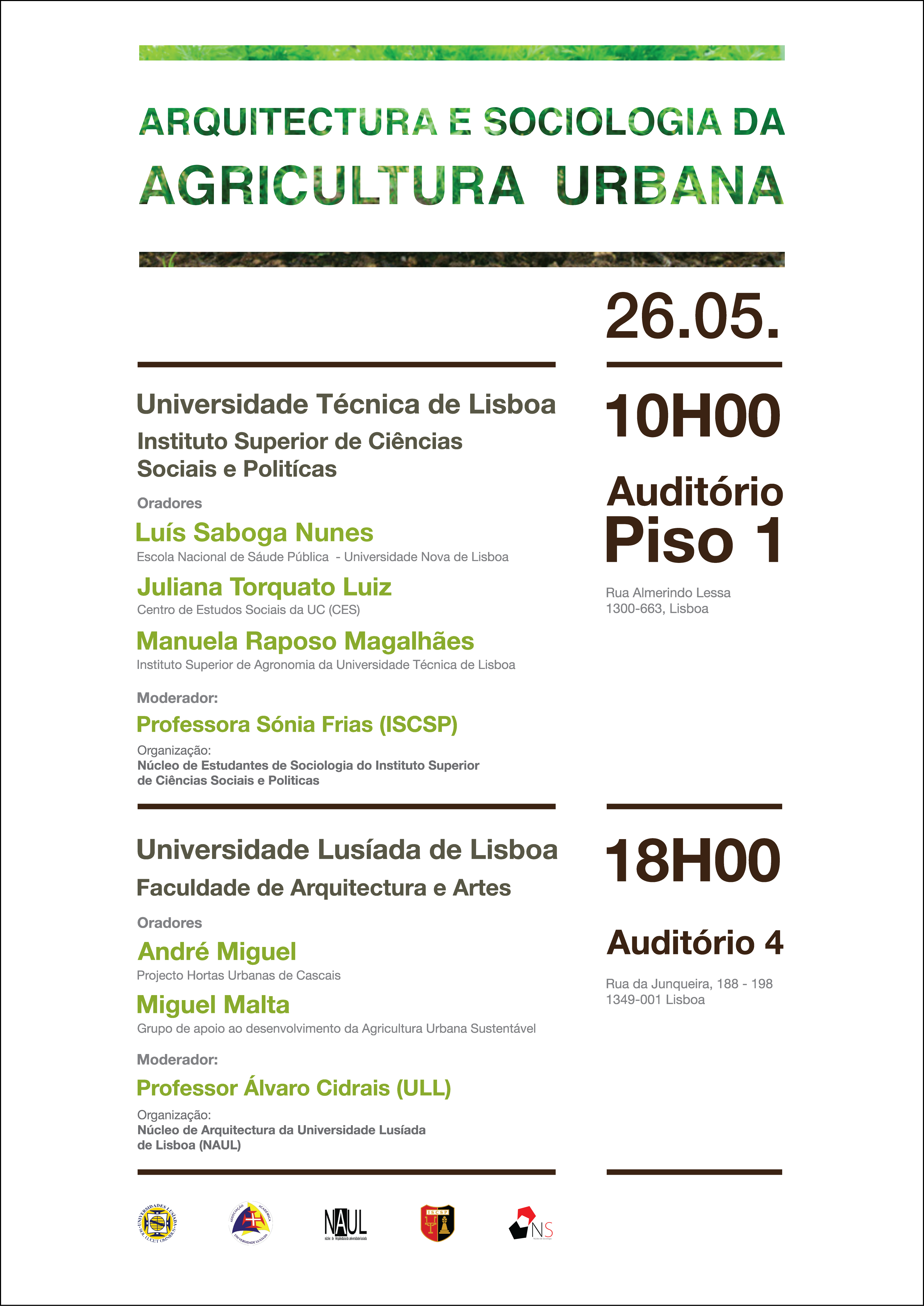 Arquitectura e sociologia da agricultura urbana ciclo de for Arquitectura tecnica ull